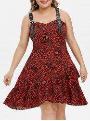 Plus Size Buckles Heart Print Flounce Midi Dress -