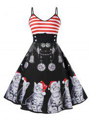 Plus Size Christmas Vintage Cat Print Pin Up Dress -