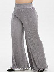 Plus Size High Rise Pleated Palazzo Flare Pants -