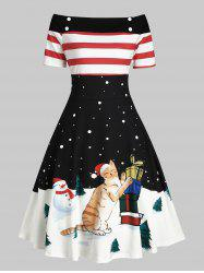 Christmas Tree Snowman Off Shoulder Button Embellished Dress -
