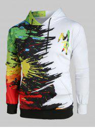 Plus Size Paint Splatter Print Kangaroo Pocket Drawstring Hoodie -