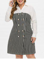 Plus Size Double Breasted Stripe Dress -