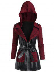 Hooded Faux Leather Insert Cable Knit Sweater Coat -
