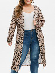 Dual Pocket Leopard Open Placket Plus Size Longline Cardigan -