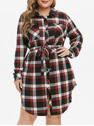 Plus Size Plaid Side Slit Shirt Dress -
