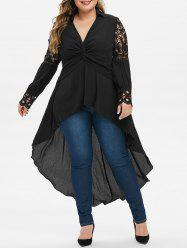 Plus Size Front Twist High Low Long Dovetail Blouse -