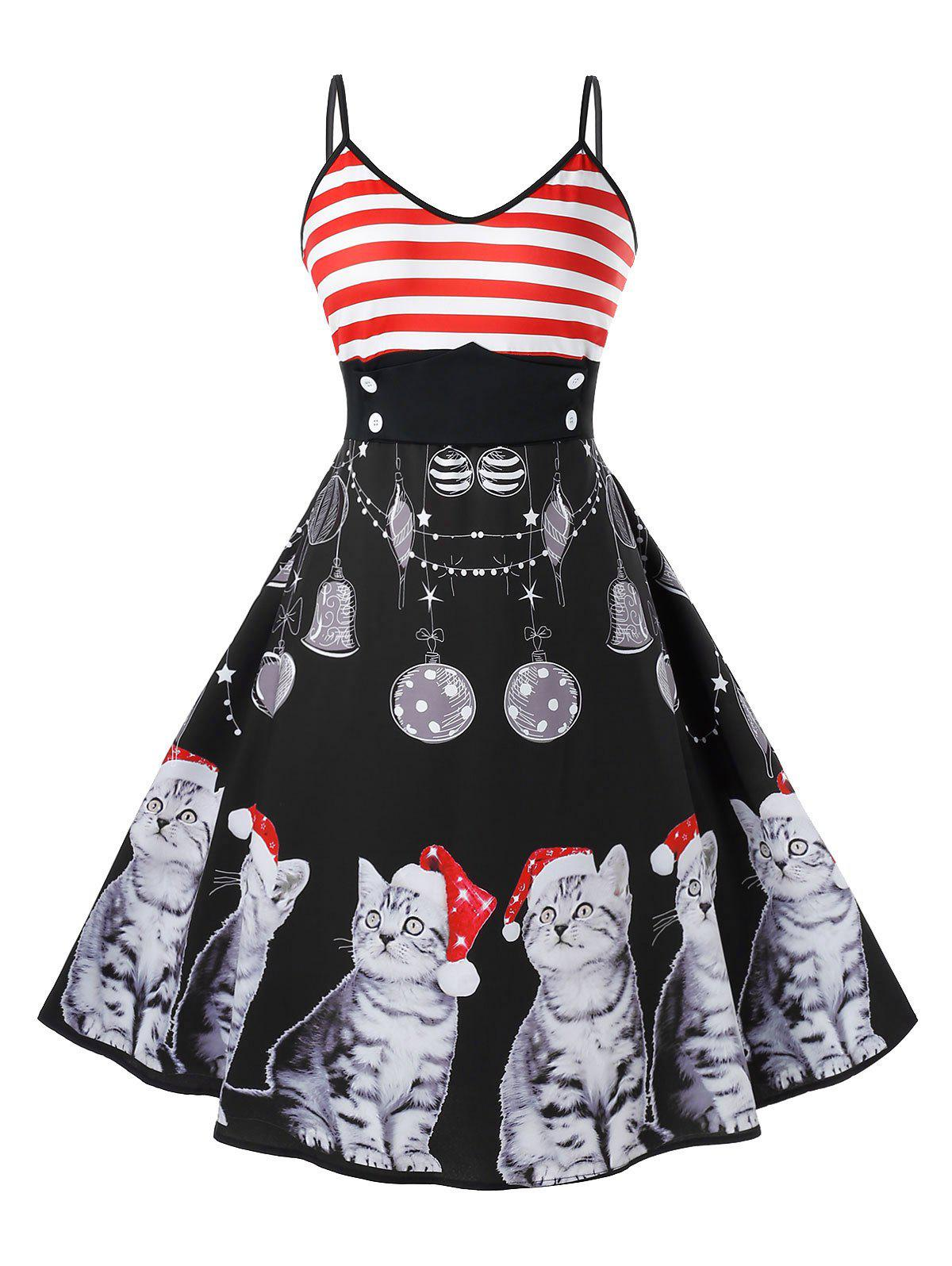 Chic Plus Size Christmas Vintage Cat Print Pin Up Dress