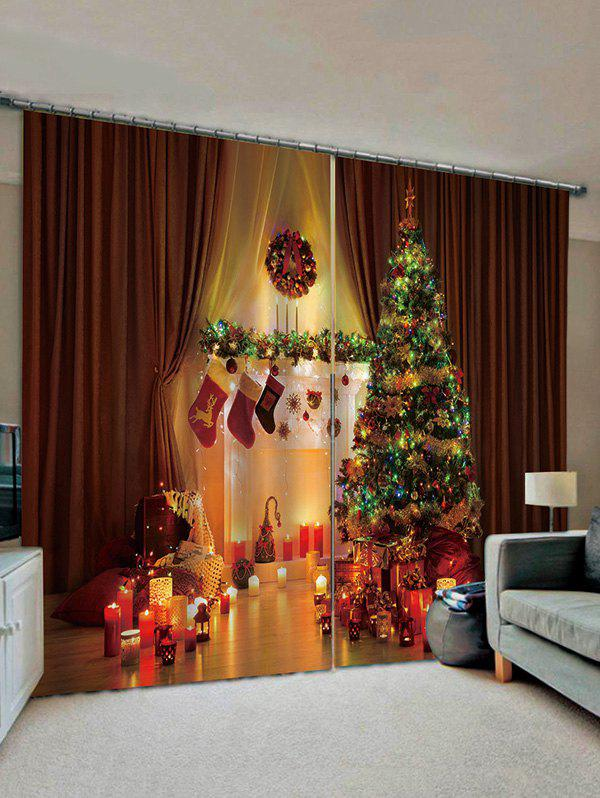 Shops 2 Panels Christmas Tree and Candle Print Window Curtains