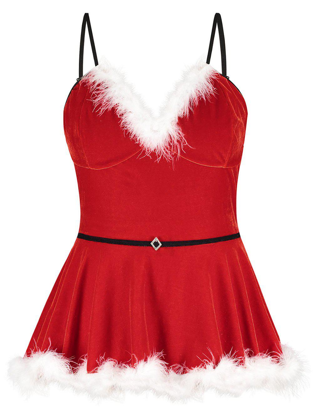 Plus Size Christmas Velvet Feather Panel Lingerie Cami Babydoll, Red