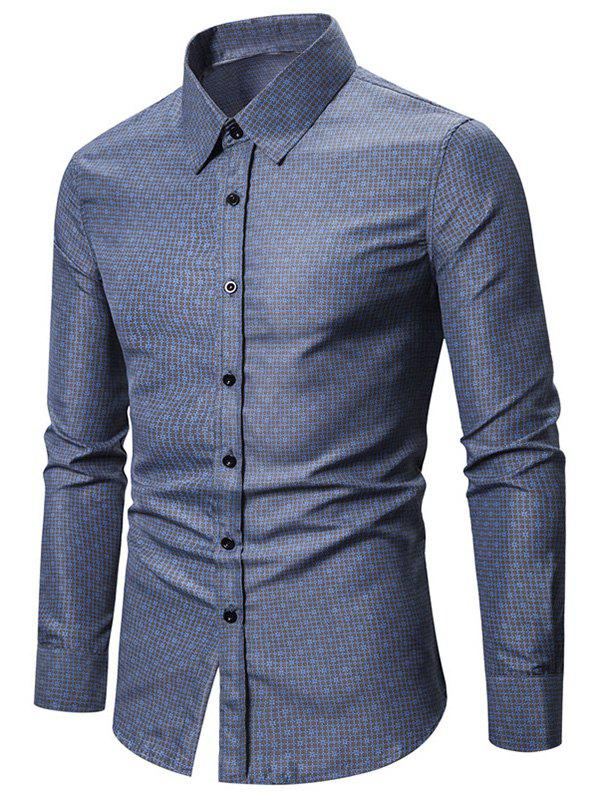 Sale Ditsy Tiny Grid Print Button Up Slim Fit Shirt