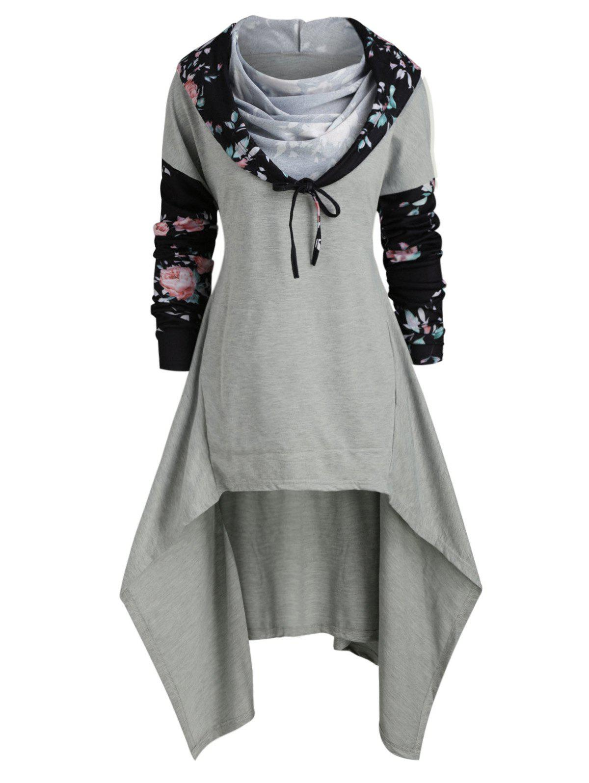 Outfits Plus Size Floral Drop Shoulder High Low Hoodie