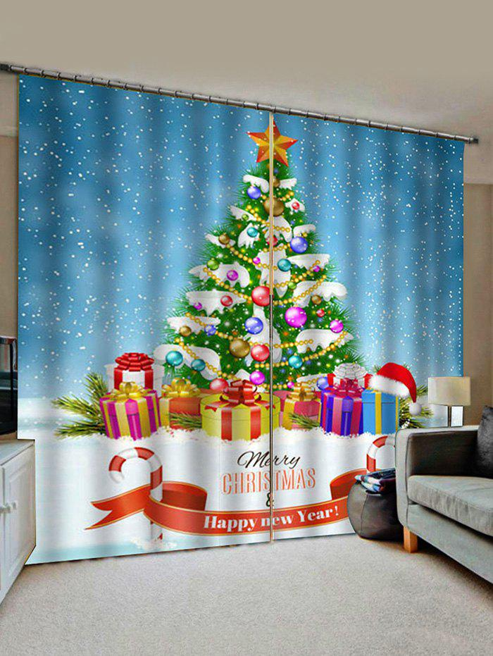 Discount Merry Christmas Tree Gift Pattern Window Curtains