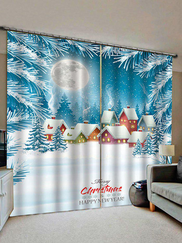 Best 2 Panels Christmas Snow House Print Window Curtains