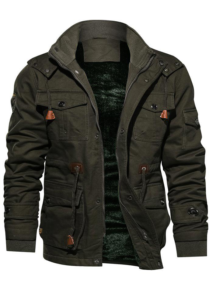 Discount Faux Fur Lined Waist Drawstring Cargo Jacket