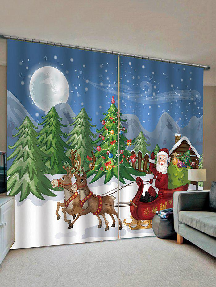 Fancy 2 Panels Christmas Tree Santa Print Window Curtains