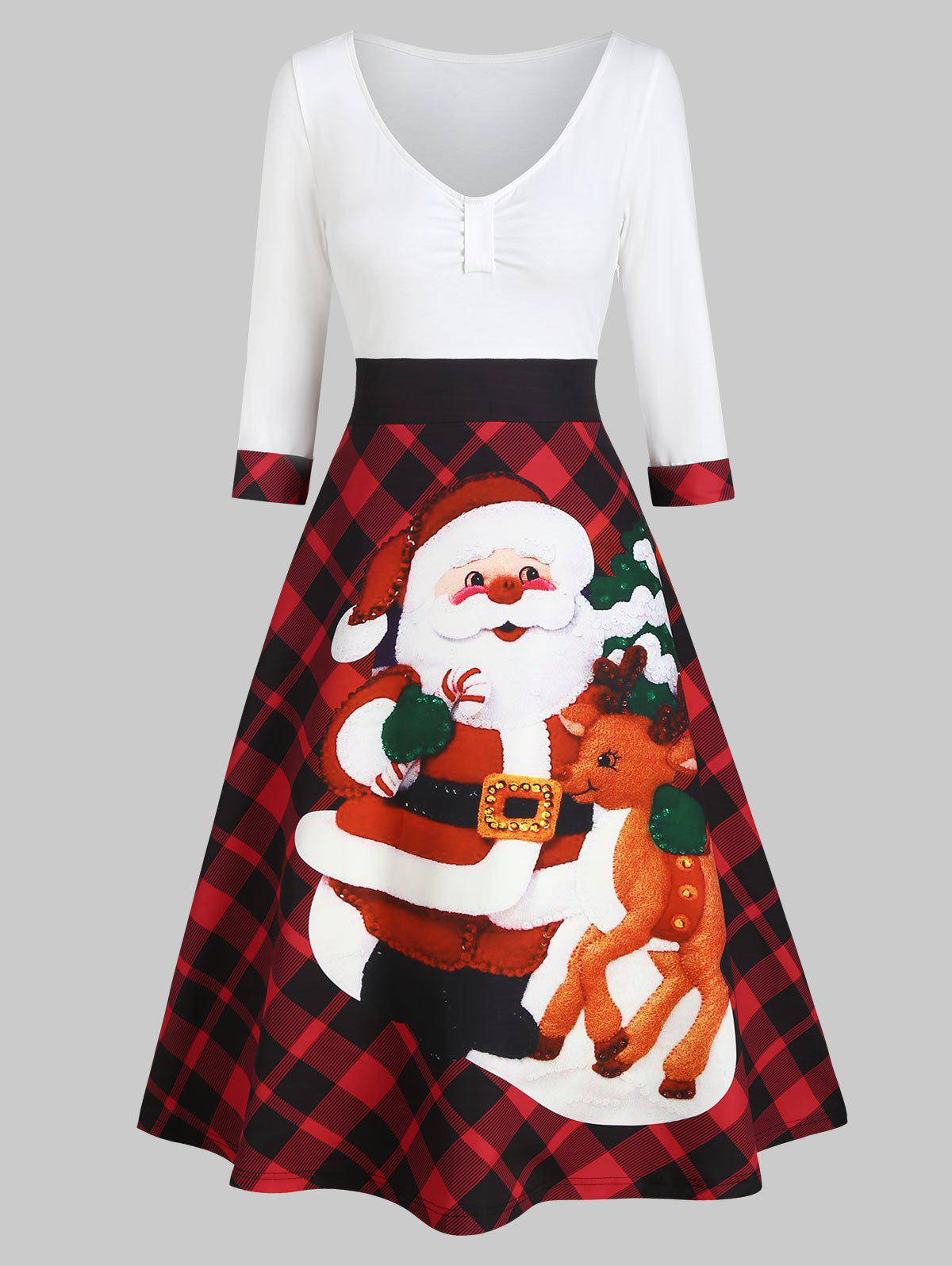 Online Christmas Santa Claus Plaid High Waisted Dress