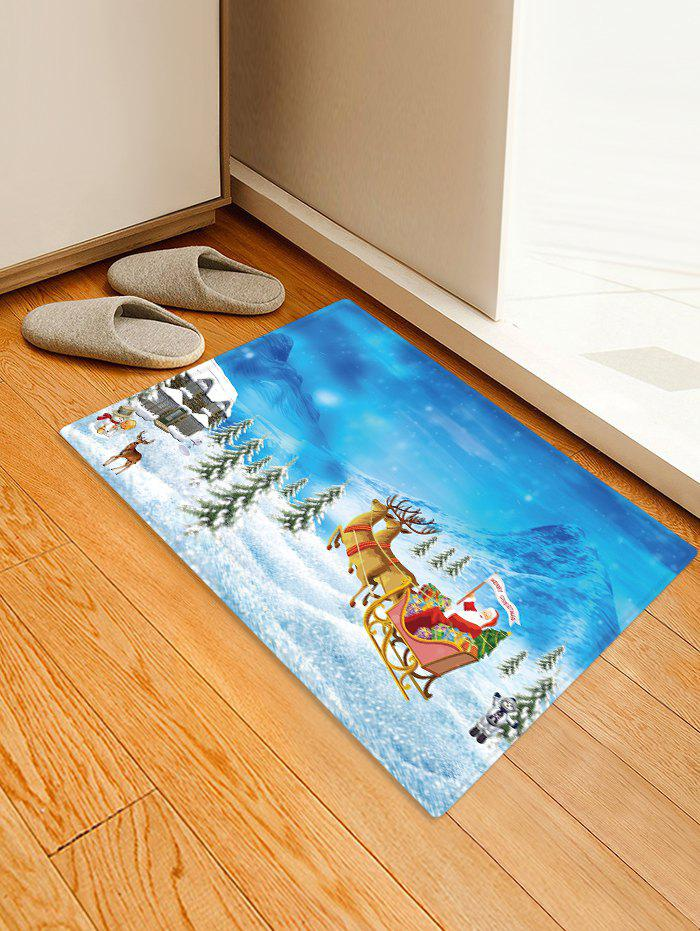 Affordable Christmas Santa Claus Snow Pattern Print Flannel Floor Mat