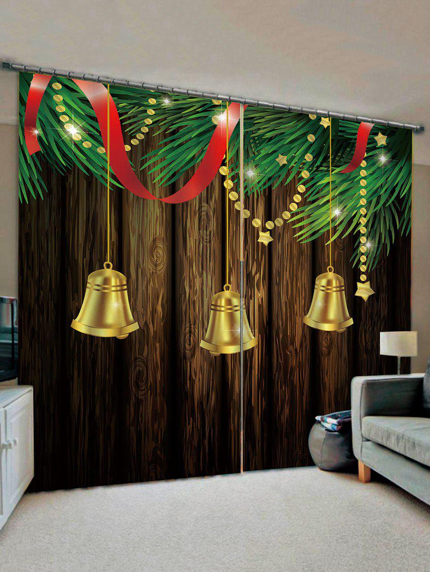 Cheap 2 Panels Christmas Tree Bells Print Window Curtains
