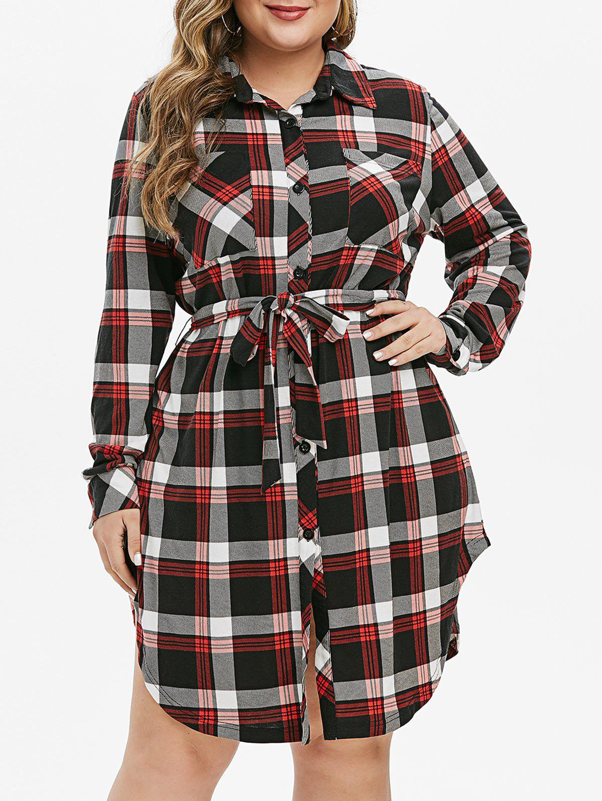 Shop Plus Size Plaid Side Slit Shirt Dress