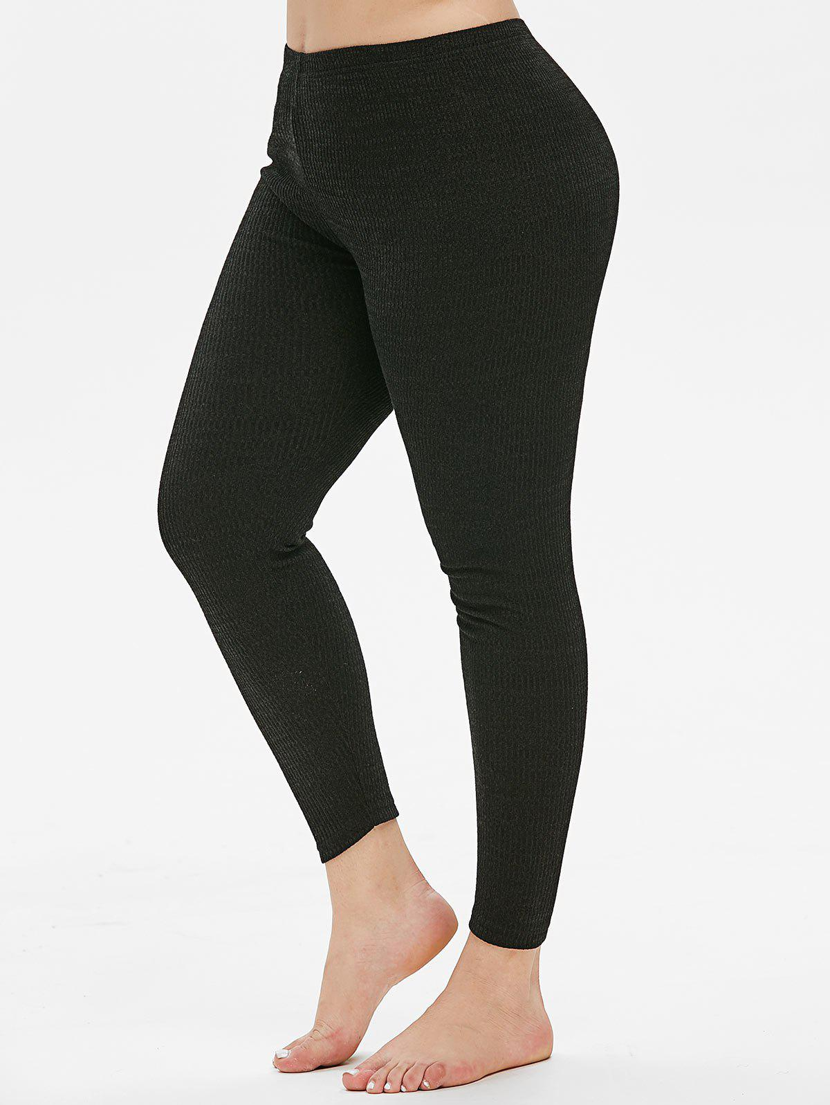 Plus Size High Rise Skinny Leggings en tricot Noir 5X