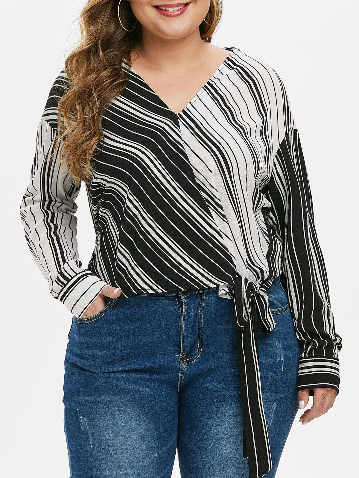 Latest Plus Size Colorblock Striped Knot Blouse