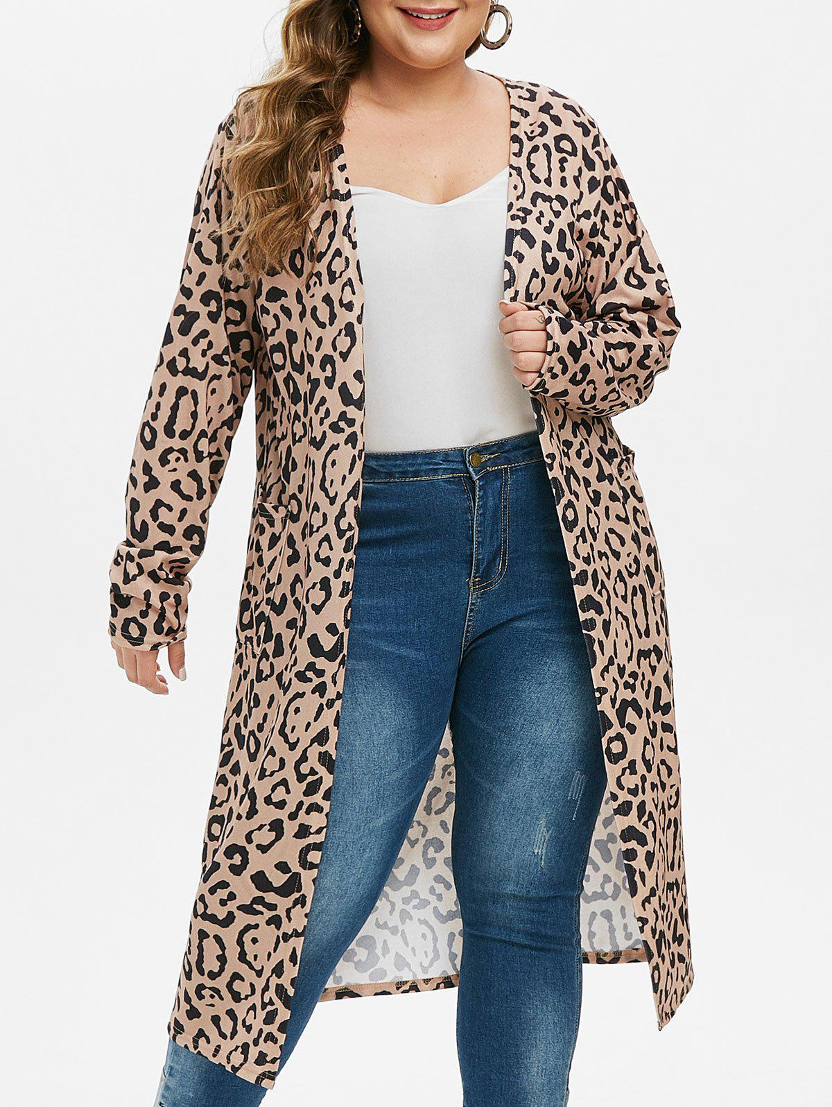 Double Pocket Leopard Plus Size Ouvrir Placket Longline Cardigan Multi-A L