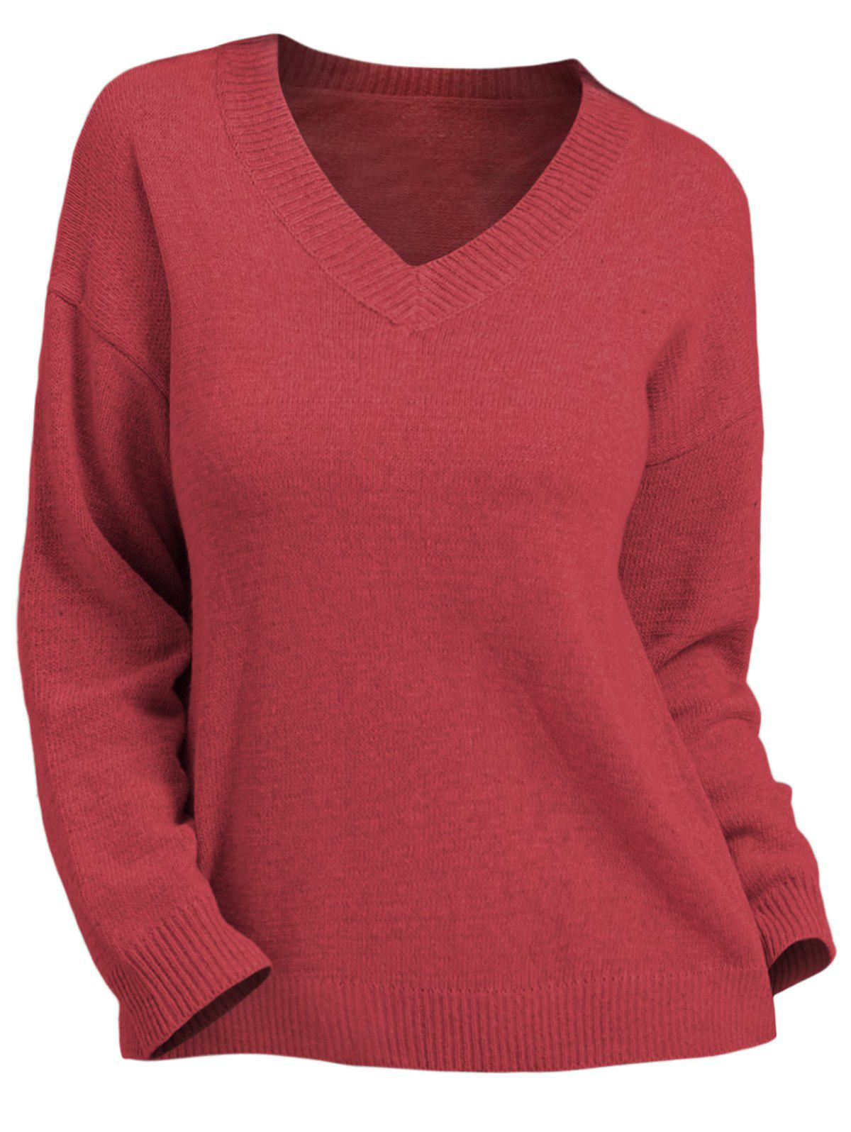 Store Plus Size V Neck Solid Pullover Sweater