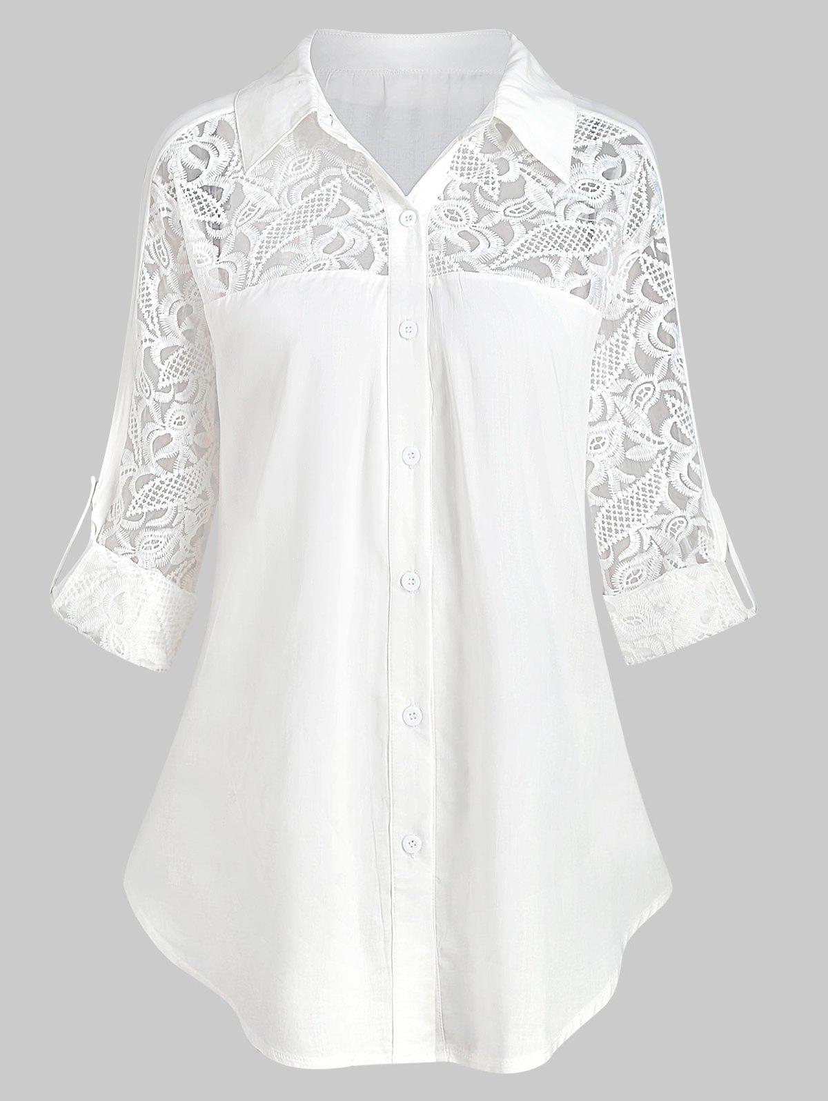 Shops Plus Size Roll Up Sleeve Lace Panel Shirt