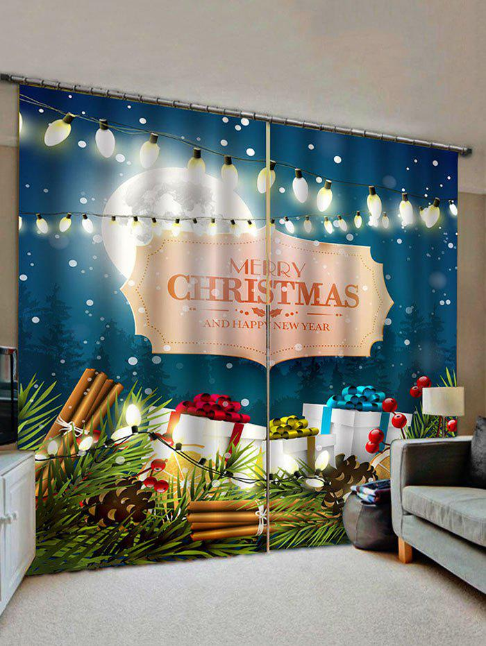 Buy 2 Panels Christmas Lights Gift Print Window Curtains