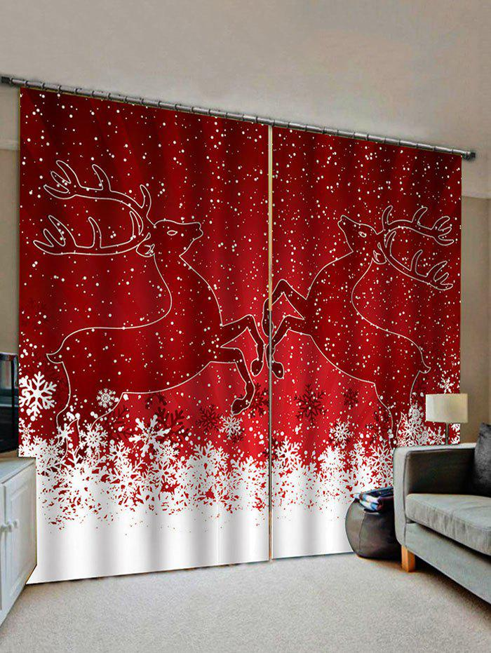Online Christmas Snowflake Deer Pattern Window Curtains