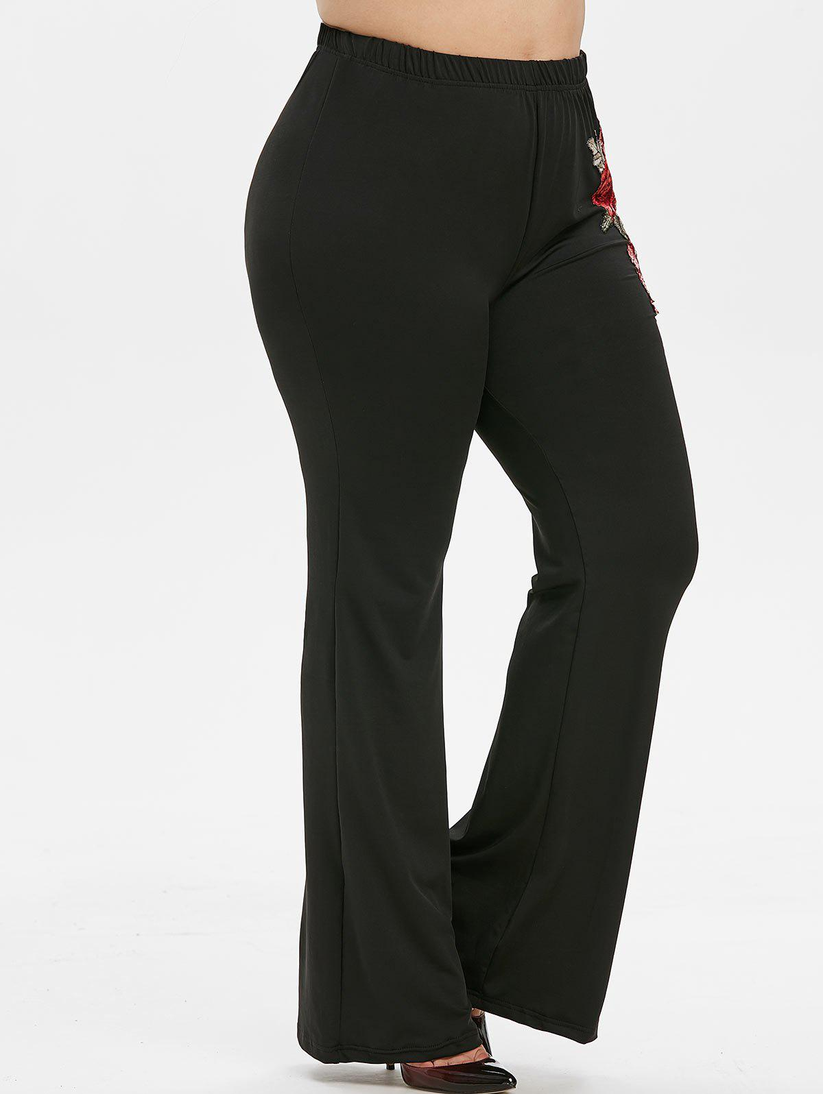 Unique Plus Size Embroidered Bell Bottom Pants