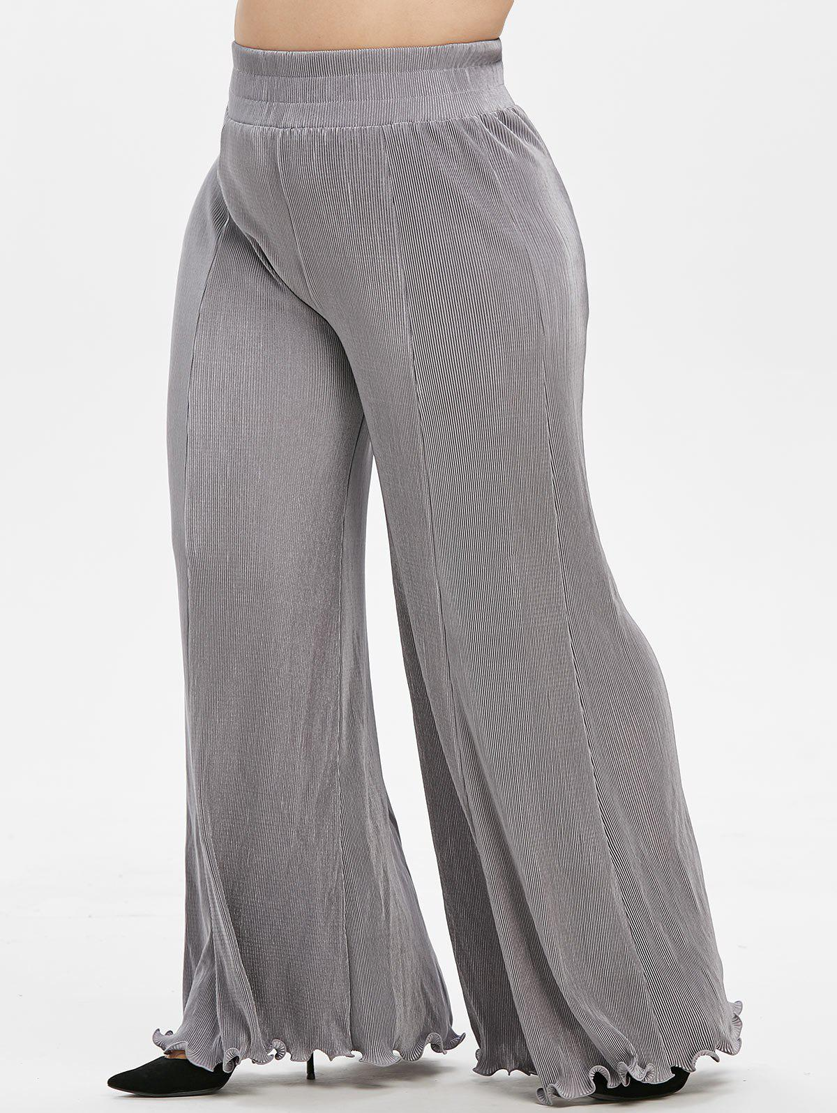 Online Plus Size High Rise Pleated Palazzo Flare Pants