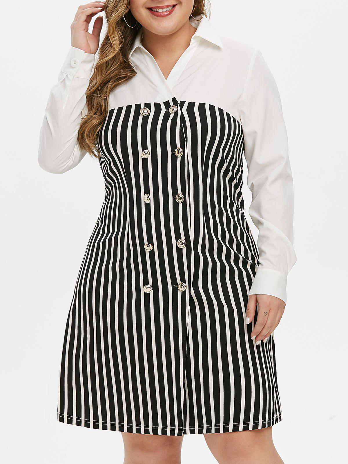 Shop Plus Size Double Breasted Stripe Dress