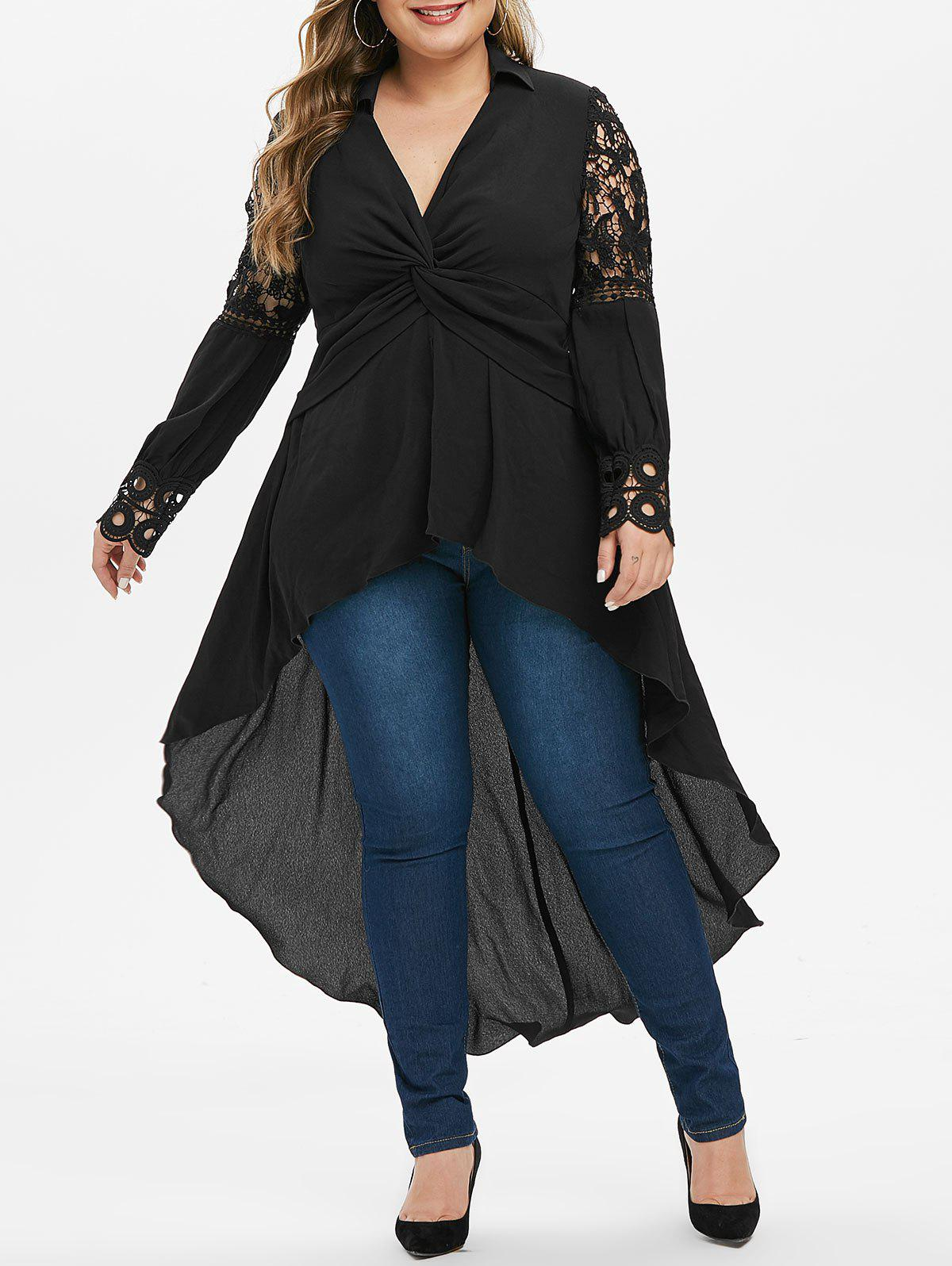 Hot Plus Size Front Twist High Low Long Dovetail Blouse