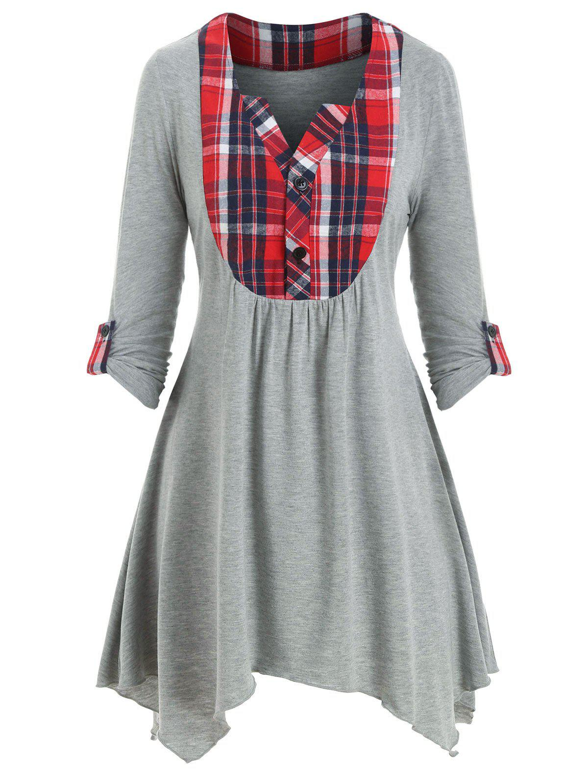 Store Plaid Panel Asymmetrical Button Placket T-shirt