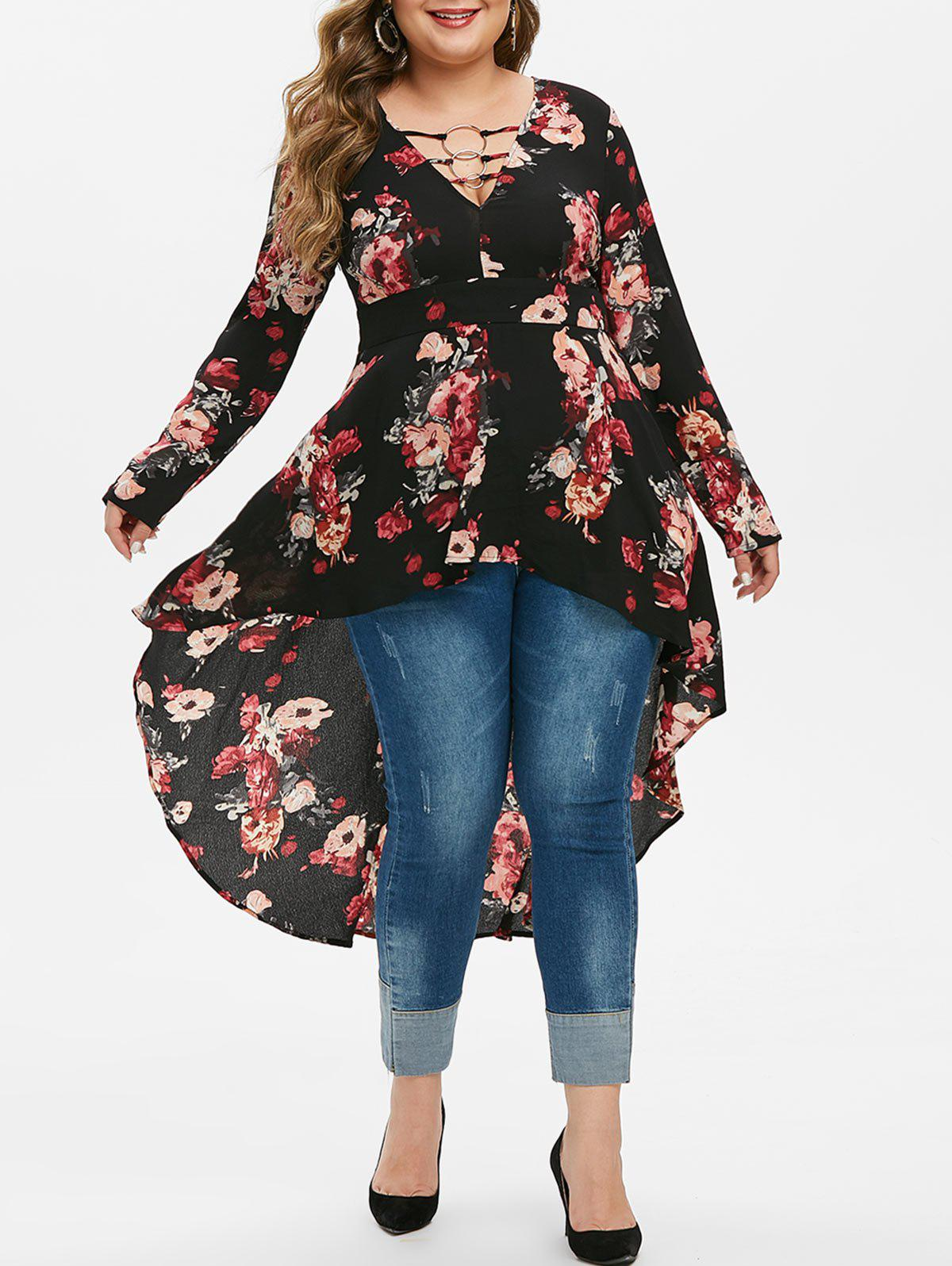 Cheap Plus Size O Rings High Low Floral Blouse