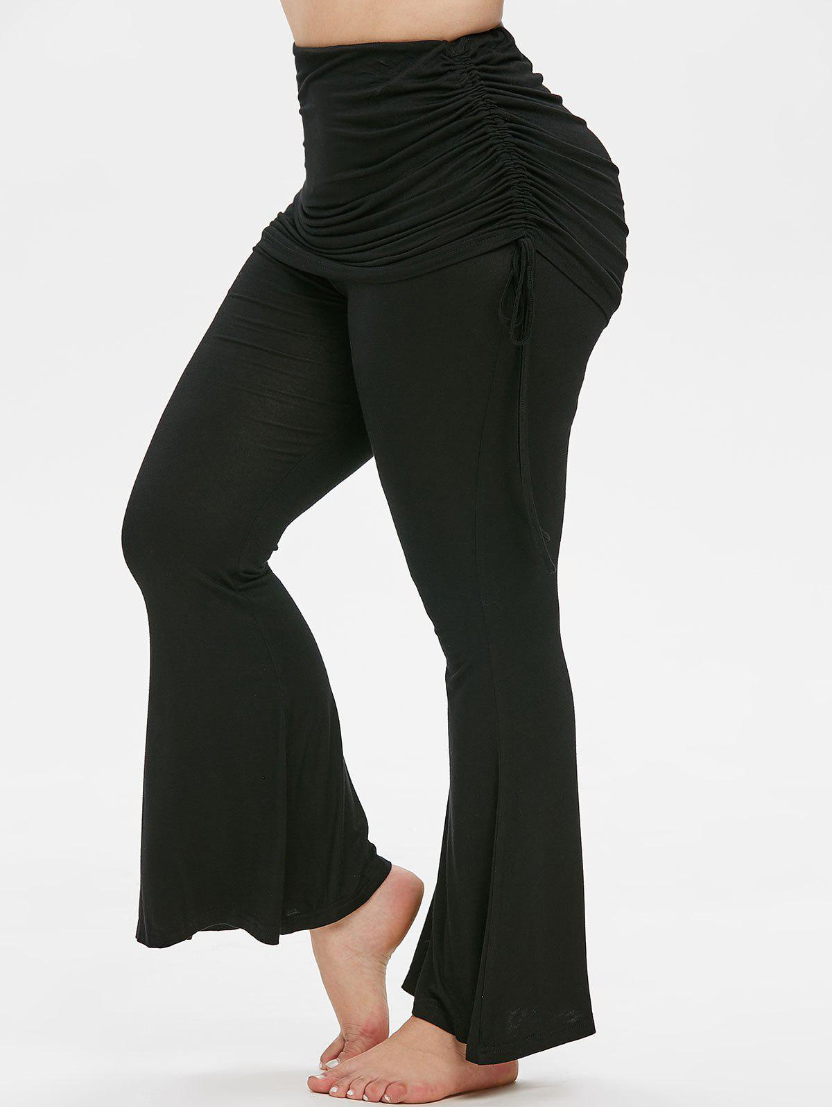 Fancy Plus Size Cinched Skirted Bell Bottom Pants