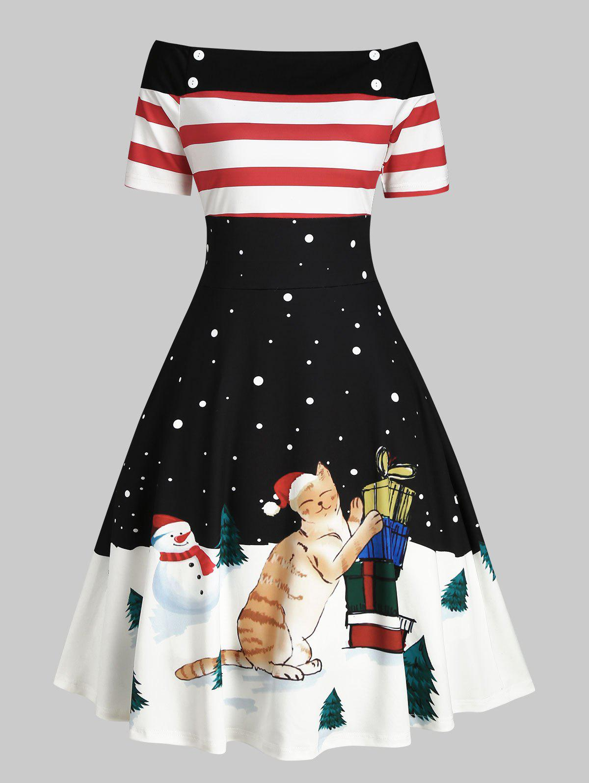 Shops Christmas Tree Snowman Off Shoulder Button Embellished Dress