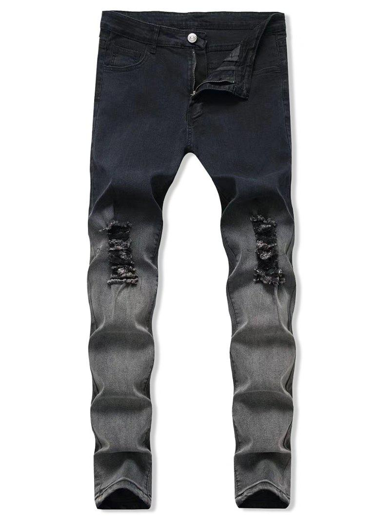 Best Ombre Destroyed Zip Fly Jeans