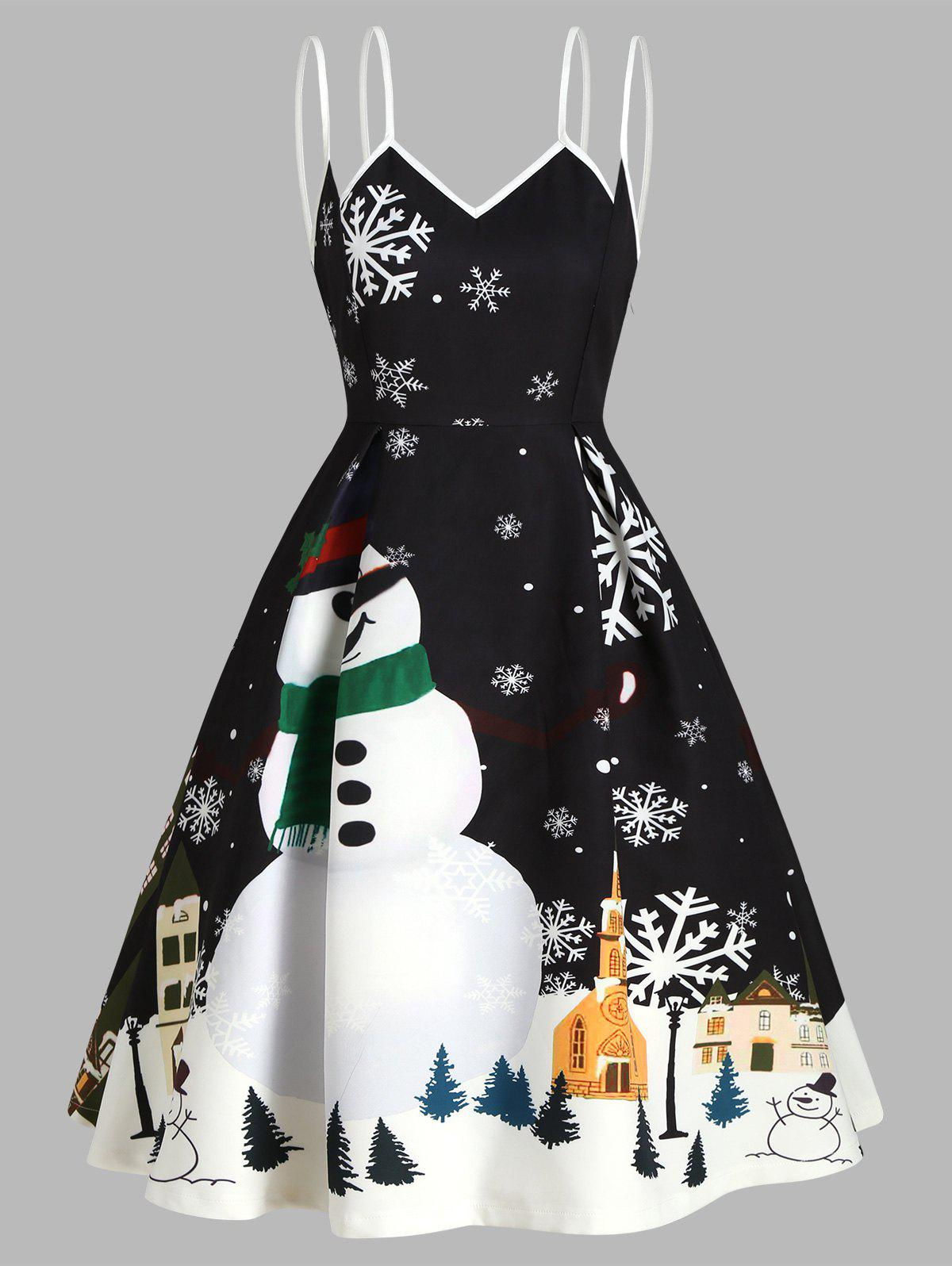 Affordable Christmas Snowflake Snowman Cami Party Dress