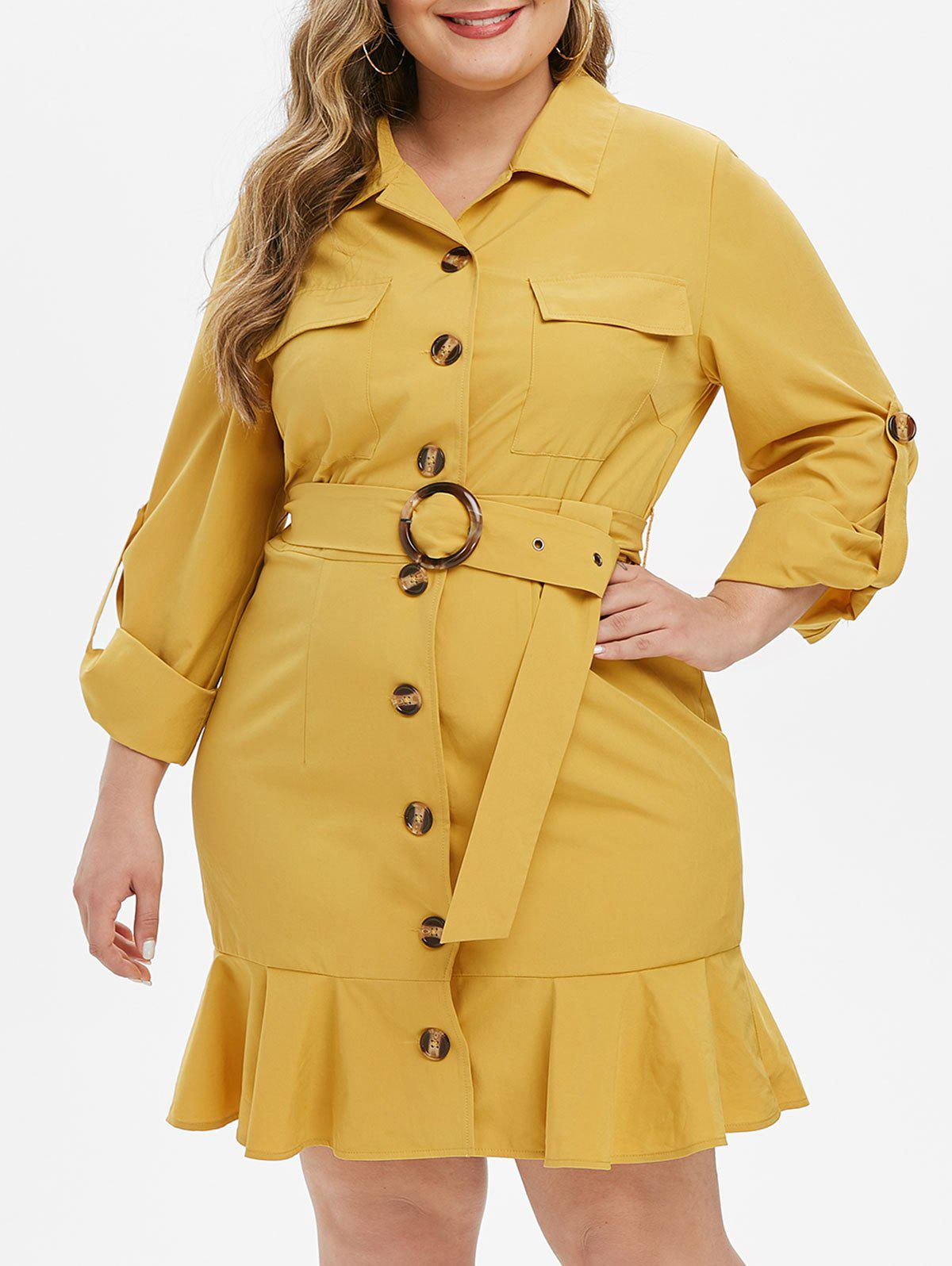 Unique Plus Size Pockets Flounced Roll Up Sleeve Dress