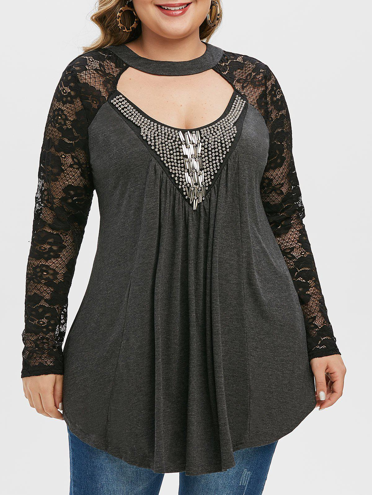 Outfit Plus Size Lace Sleeve Beaded Cut Out T Shirt