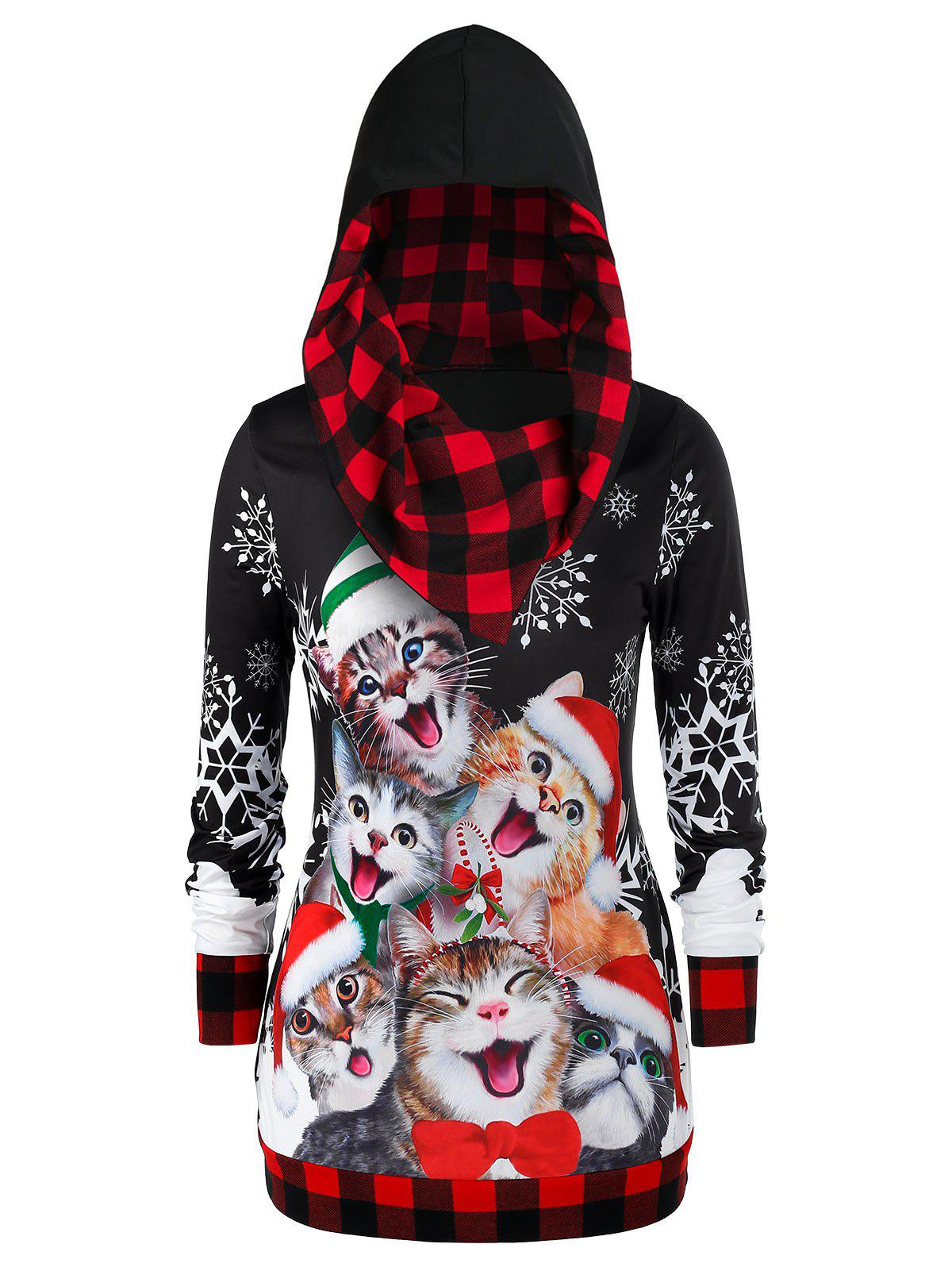 Plus Size Christmas Plaid Cat Imprimer Hoodie Rouge 1X