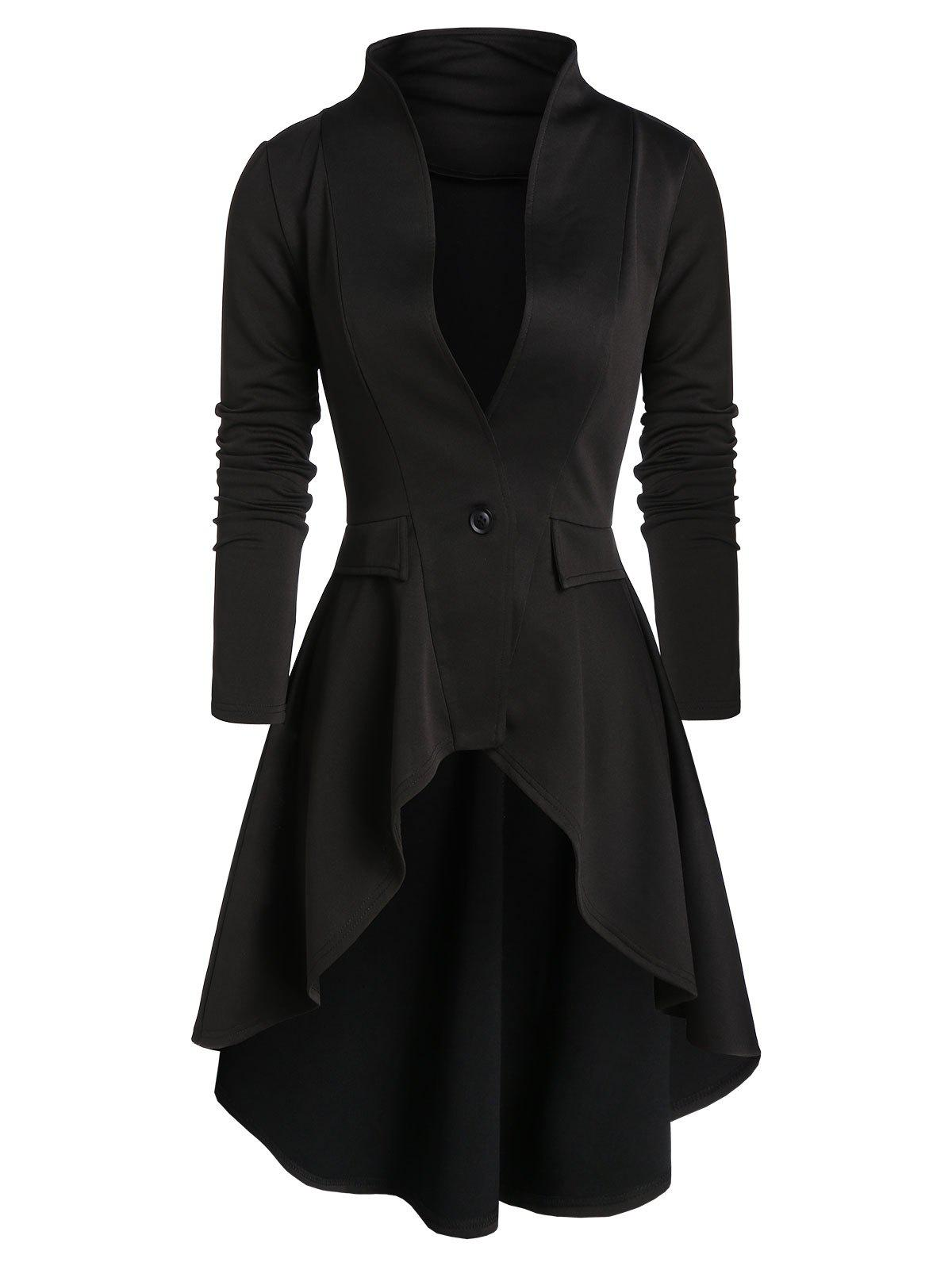 Online One Button High Low Skirted Coat