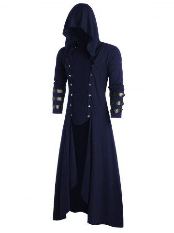 Faux Leather Insert Button Up High Low Hoodie - MIDNIGHT BLUE - 2XL