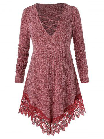 Plus Size Plunge Lace Insert Criss Cross Sweater - CHERRY RED - L