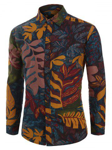 Plant Leaf Painting Print Long Sleeve Button Shirt