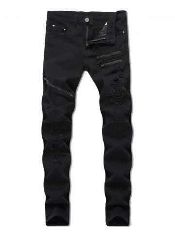 Destroyed Decoration Zipper Casual Jeans