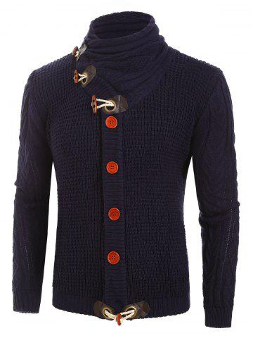 Button Decoration Knitted Long-sleeved Cardigan