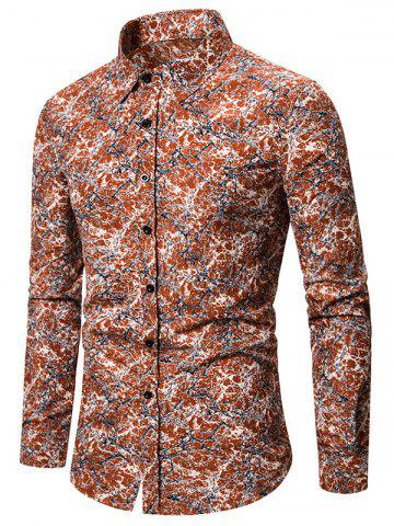 Abstract Print Long Sleeve Button Slim Fit Shirt - ORANGE - M